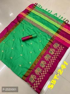 Green Embroidery work Cotton Silk Saree With Jhalar and Running Blouse Piece Designer Sarees Collection, Indian Designer Sarees, Latest Designer Sarees, Saree Collection, Indian Sarees, Buy Sarees Online, Cotton Silk, Gold Bangles, Cod