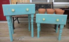 add legs to old drawers and turn them into planter boxes