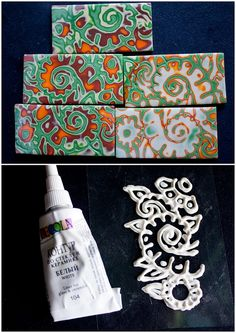 to make your own texture stamp, you need some transparent film and liner for glass/ceramics. Just put the film over the desired pattern and trace it with the liner. Let dry, and then repeat tracing one or two times to increase the depth of the texture. Works well for mokume gane technique, just don't forget to sprinkle it with water before applying to clay, as it tends to stick