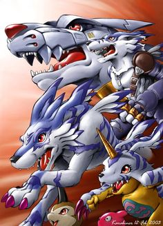 MetalGarurumon, WereGarurumon, Garurumon, Gabumon, Tsunomon. I guess it's not hard to figure out that I have no girlfriend.