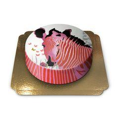 Zebra cake with printed art by Pia Lilenthal, BlondZebra.
