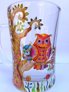Owl Tree of life Big Mug. Hand painted glass. Hand painted mug. Large mug. Glass mug by OrdinaryWWonders on Etsy