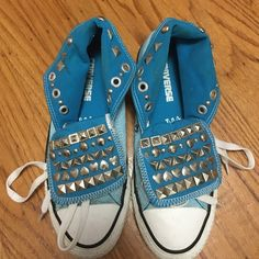 Studded (by hand) blue chucks Worn once for a music festival. Took a few hours to stud these by hand! Converse Shoes Sneakers