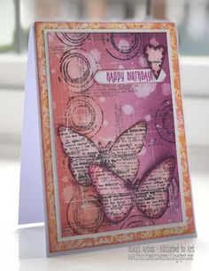 AALL and Create stamps (Tracy Evans), Stamp Set Border Stamp Distress Oxides with one of the border stamps (love the circles!) and also the small Serenity Prayer text stamp off Set - by Nikki Acton Card Making Inspiration, Art Journal Inspiration, Making Ideas, Gesso Art, Evans Art, Mixed Media Cards, Karten Diy, Butterfly Cards, Butterfly Kit