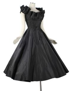 Vintage 1950s Ceil Chapman black taffeta circle skirt party dress available now on ebay.