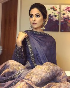 Hina Khan just made London a prettier place with this stunning violet outfit – view pics! Pakistani Dresses, Indian Dresses, Indian Outfits, Indian Clothes, Indian Attire, Indian Wear, Indie Mode, Indian Designer Suits, Desi Wear