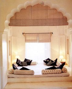 I love this bed idea! I would use different colored pillows and shades, but this is gorgeous!