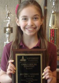 Rosemarie Laitinen, a 6th grade student at Providence Catholic School located in Paris, competed at the Optimist International District Oratorical Contest held in Lake Geneva on April 26. Rose competed against middle school and high school students from throughout southeastern Wisconsin. Her outstanding presentation earned Second Place and a $1500 scholarship.