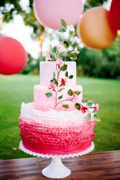 red and pink wedding cake