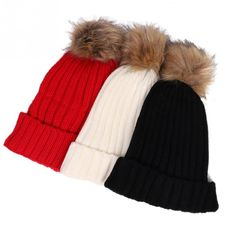 LOVIW New vogue Women's Ladies Winter Knitted Fur Beanie Hats Pompoms Caps Ear Protect