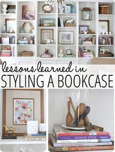 Lessons Learned in Styling a Bookcase... great tips on decorating shelves and bookcases! www.findinghomeonline.com