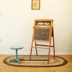 circa 1940 antique chalkboard slate child's easel. I played school a lot.