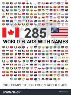vector set of 285 world flags of sovereign states with names. 2015 complete collection world flags. World Flags With Names, Flags Of The World, World Country Flags, Country Names, General Knowledge For Kids, Earth Flag, Name Wallpaper, Learn English Words, Bingo Cards