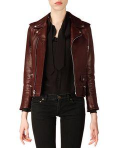 Classic Bordeaux Leather Moto Jacket by Saint Laurent at Bergdorf Goodman. $5,290