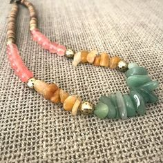 Colorful gemstone necklace. Beautiful necklace with Rose quartz , Green and red Avanturine. Gift for her. Mother's day gift. by ARIObyShlomitBerdah on Etsy