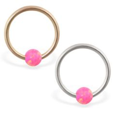 real gold captive bead ring with pink opal ball Helix Piercing Jewelry, Opal Color, Beaded Rings, Pink Stone, Pink Opal, Body Jewelry, Solid Gold, Gems, Stud Earrings