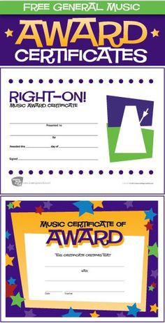 12 Free General Music Award Certificates - http://makingmusicfun.net/htm/printit_award.htm