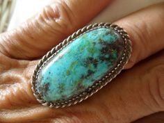Red Webbed Bisbee Ring; Old Pawn Navajo, Unsigned Sz 7 1/4; Stone 1 13/8 x 5/8