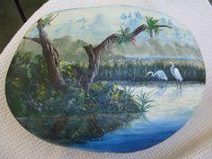 Landscape painted rock
