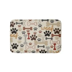 Cute Dog Bones & Paw Prints Brown and Tan Bath Mat