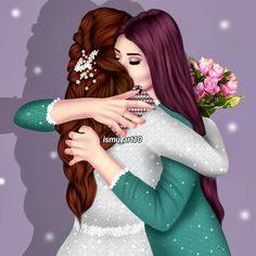 Jia nd achaan Girly M, Best Friend Drawings, Girly Drawings, Lovely Girl Image, Girls Image, Mother Daughter Art, Sarra Art, Friend Cartoon, Photos Booth