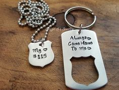 Always Come Home To Me Police Badge Keychain & Necklace Set, Gift for Him, Hand Stamped Police Officer Gift, Police Officer/Wife Gift Set by JazzieJsJewelry on Etsy