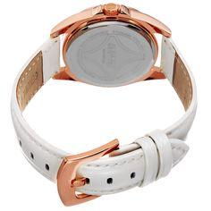 August Steiner Women's Quartz 24-Hour Indicator Multifunction White Strap Watch