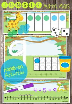 Fun hands-on maths mats such as playdough mats, number tracing, ten frames and number lines in a jungle theme.