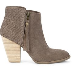 Sole Society Zada Woven Ankle Bootie (£46) ❤ liked on Polyvore featuring shoes, boots, ankle booties, coffee, high heel boots, suede ankle bootie, high heel ankle boots, side zip boots and ankle boots