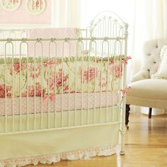 Roses for Bella Pink and Sage Shabby Chic Antique Floral 3 Piece Crib Set