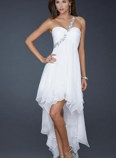 Elegant One Shoulder Empire,  Dress, Beaded High Low Prom Dress, Chic