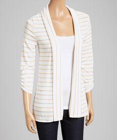 Ivory & Taupe Stripe Open Cardigan