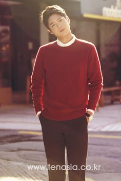 In red outfit, a little bit of warm sunlight, head tilting... so adorable♡