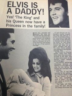 Elvis Aaron Presley and Lisa Marie Presley Photo: Lisa is born ! (Newspaper)