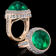 Robert Procop Exceptional Jewels ~ A Rare Rounded Cabochon Emerald Ring