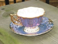 Antique GORGEOUS blue/purple small cup and Lace Saucer Lusterware❤❤❤