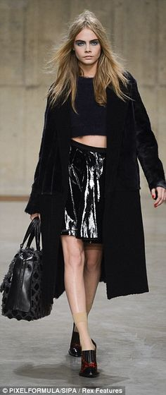 Full length fur coat and PVC skirt should look slutty but super-cool and looks grunge club ready - Topshop Unique