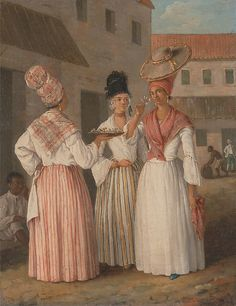 A West Indian Flower Girl and Two other Free Women of Color  Artist:     Agostino Brunias (1728–1796)  Date:     ca. 1769  Culture:     West Indies, for the British market  Medium:     oil on canvas  Dimensions:     12.5 x 9.75 in (31.8 x 24.8 cm)  Classification:     Paintings  Credit Line:     Yale Center for British Art, Paul Mellon Collection, New Haven, Connecticut