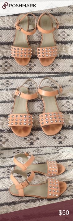 Sonia by Sonia Rykiel studded sandals Sonia by Sonia Rykiel leather, studded sandals. Nude, peachy color with silver studs. Some wear on the bottom as pictured and a couple scuff marks as pictured, but in pretty good condition. Size 38 and fits like a 7.5 Sonia Rykiel Shoes Sandals