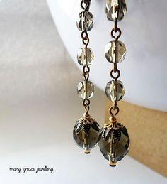 Smokey Brown Glass Bead Earrings Antique by marygracejewellery, $14.00