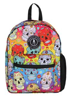 Spacious And Gorgeous, Tikiboo's Spirited Skulls Rucksack Co-ordinates With Our Activewear In The Rainbow Mexican Skulls Range. The Spicy Design Stands Out From The Crowd With Its Blend Of Cool And Warm Colours And Sparkly-eyed Skulls. Halloween Skull, Vintage Halloween, Halloween Costumes, Halloween Makeup, Sugar Skull Makeup, Sugar Skull Art, Large Water Bottle, Warm Colours, Candy Skulls