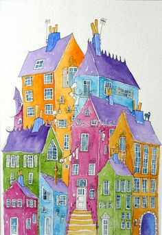 Pink house in the middle an original painting by shelikesthis, £45.00