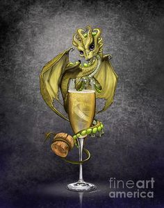 Champagne Dragon Art Print by Stanley Morrison Art - X-Small Tiny Dragon, Dragon 2, Fantasy Dragon, Dragon Garden, Toothless Dragon, Dragon Heart, Magical Creatures, Fantasy Creatures, Mythological Creatures