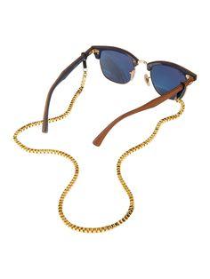 Acessório de Óculos Veneza Dourado   Corrente quadrada de metal dourada.  Encaixe ajustável para todos ccfe4481f3