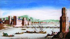 Vista de la Torre del Oro, el puente de barcas y el castillo de San Jorge, según un grabado italiano del siglo XVII.
