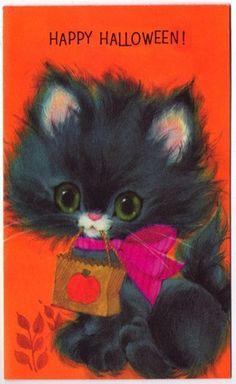 Vintage Greeting Card Halloween Kitty Cat