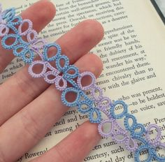 Lilac and blue tatted bookmark by ~TataniaRosa on deviantART - Gotta figure this pattern out. So cute!
