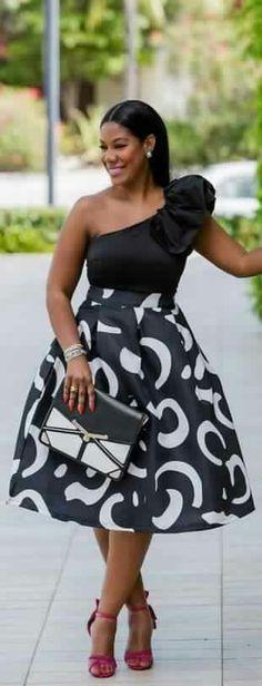 "ecstasymodels: ""Ruffled ShoulderBlack & White High Waist Midi Skirt Fashion By Sheque Style "" African Print Dresses, African Fashion Dresses, African Attire, African Wear, African Women, African Dress, African Prints, Ghanaian Fashion, Look Fashion"