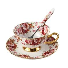 ufengke Bone China Ceramic Tea Cup Coffee Cup Set with Saucer and Spoon,Flower,White And Red Coffee Cup Set, Coffee Cups And Saucers, Cup And Saucer, Coffee Flower, Flower Tea, Thing 1, Bone China Tea Cups, Vintage Tea, Flower Vintage
