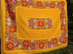 Vintage Retro Flower Power Tablecloth by 23burtonavenue on Etsy
